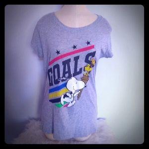 "Peanuts ""Goals"" t-shirt, women's size L"